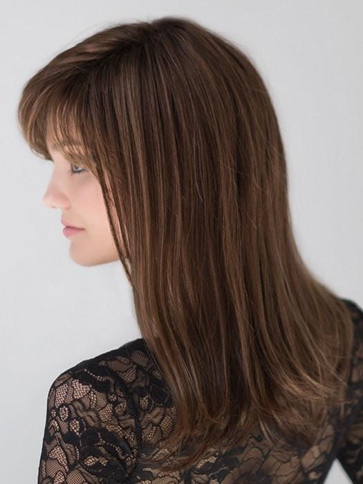Mid-length Women Straight Synthetic Wig Mono Crown Brunette By Rooted