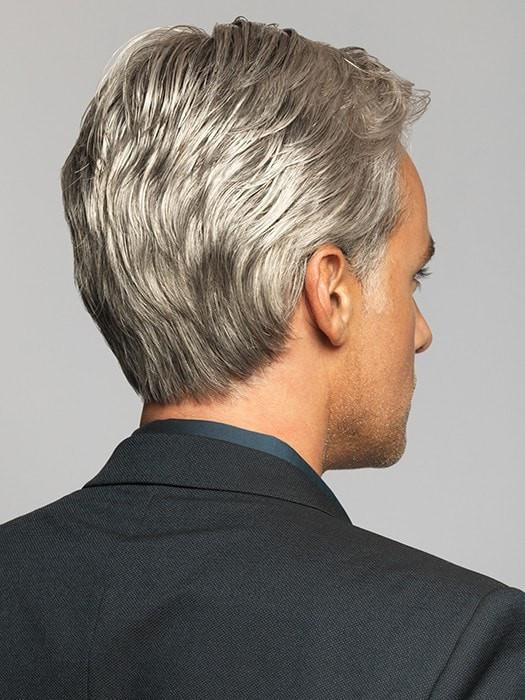Men Gray Short Monofilament Synthetic Lace Front Wig Mono Top