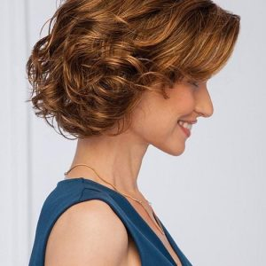 Women Mid-length Wavy Synthetic Lace Front Wig Mono Part By Rooted