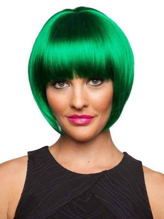 Women Short Stright Green Colored Synthetic Wig Basic Cap