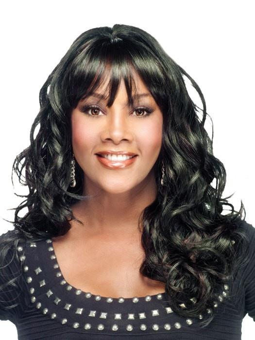 Long Curly Women Black African American Synthetic Wig Basic Cap