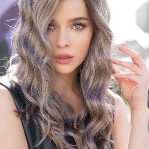 Women Long Curly New Synthetic Lace Front Wig Colored By Rooted