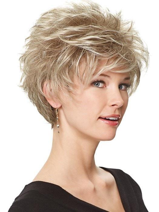 Women Short Straight Blonde Brunette Synthetic Wig Basic Cap