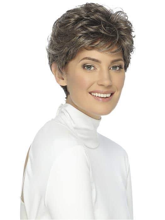 Women Short Straight Synthetic Wig Basic Cap Brunette