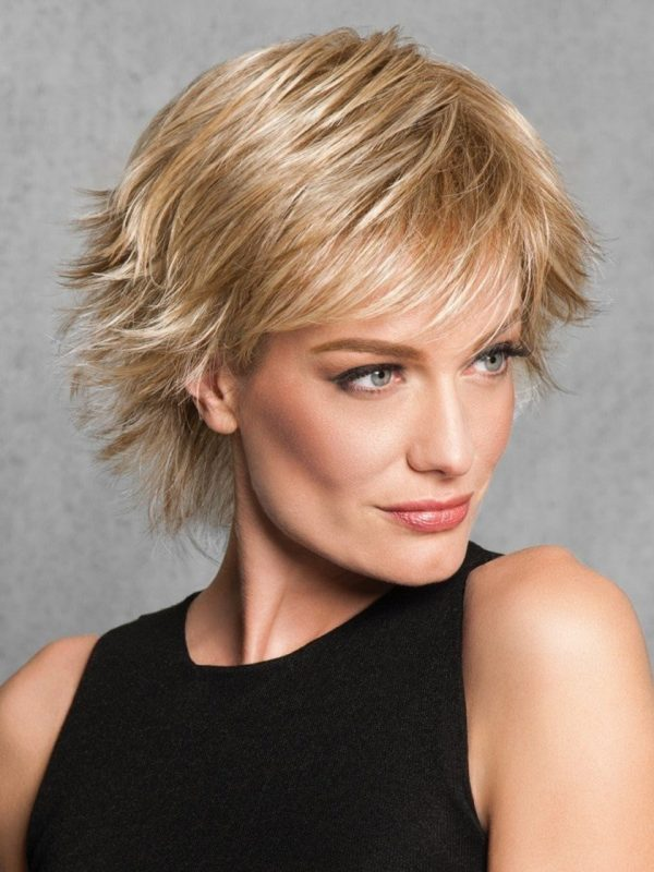 Short Straight Women Blonde Hf Synthetic Wig Basic Cap By Rooted