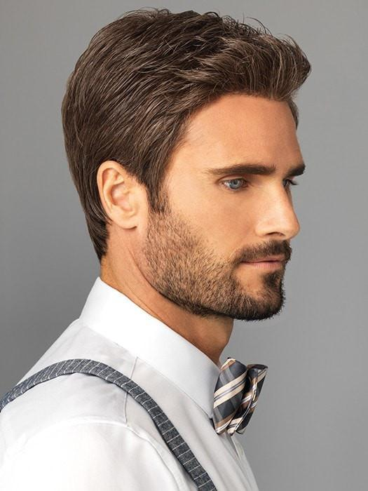 Men Short Style Hf Synthetic Lace Front Wig Mono Top Brunette