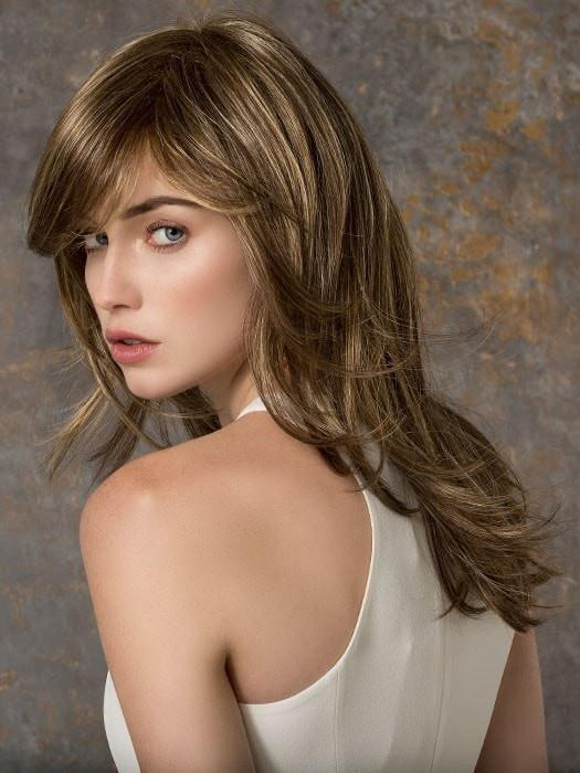 Women Blonde Long Synthetic Wig Mono Crown Layered By Rooted
