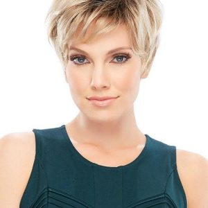 Women's Short Red Straight Synthetic Wig Basic Cap By Rooted