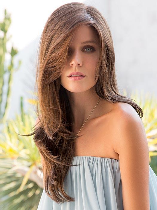 Women's Layered Brunette Synthetic Lace Front Wig Mono Part
