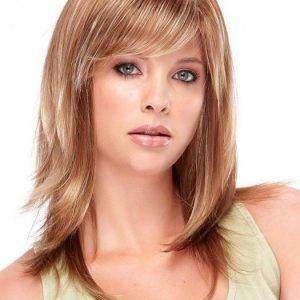 Mid-length Women's Straight Brunette Synthetic Wig Basic Cap