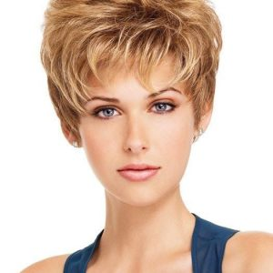Short Short Pixie Women's Blonde Synthetic Wig Basic Cap