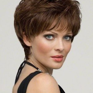 Short Women's Straight Human Hair/ Synthetic Wig Monofilament Hand-tied