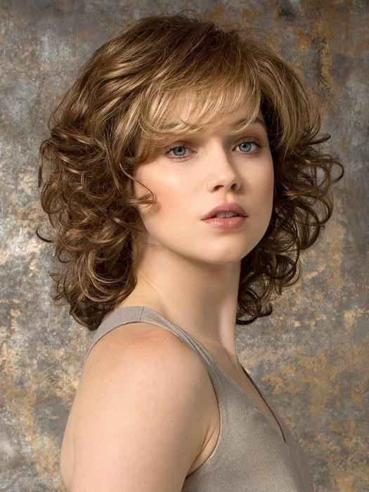 Mid-length Curly Women's Blonde Monofilament Brunette Synthetic Wig