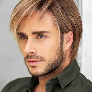 Men's Short Hf Monofilament Synthetic Lace Front Wig Mono Top