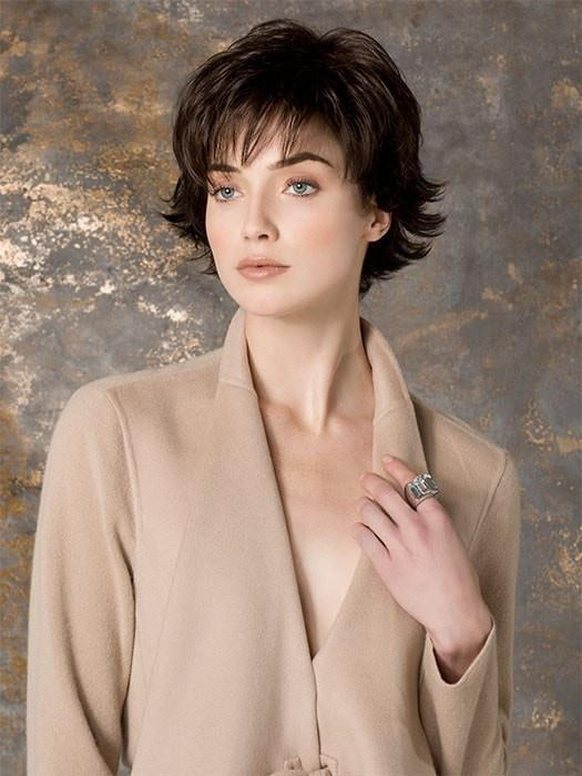 Women's Short Straight Synthetic Wig Mono Crown By Rooted