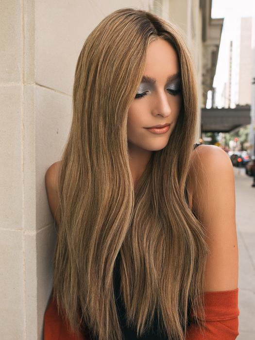 Women's Long Human Hair Hand-tied Lace Front Wig