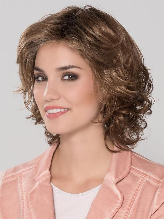 Short Women's Curly Brunette Synthetic Lace Front Wig By Rooted