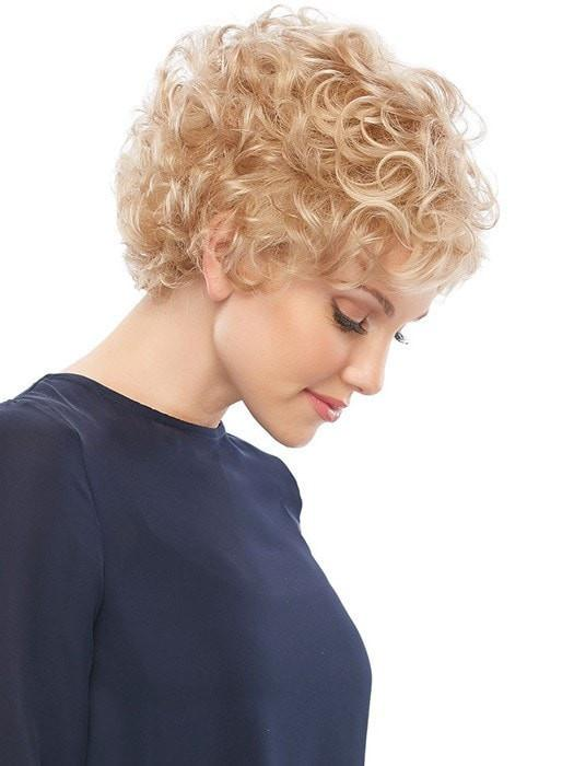 Short Women's Curly Blonde Synthetic Wig Basic Cap