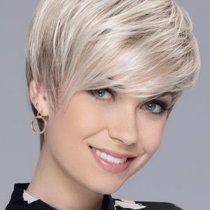 Short Women's Straight Brunette Synthetic Wig Mono Crown