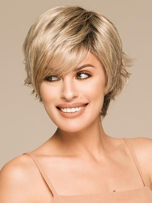 Women's Short Red Layered Synthetic Wig Mono Crown