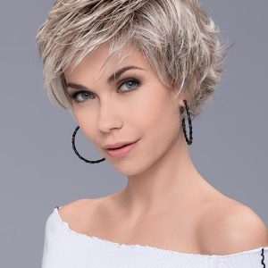 Women Straight Layered Short Gray Synthetic Lace Front Wig By Rooted