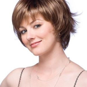 Short Straight Women's Monofilament Synthetic Wig Mono Top