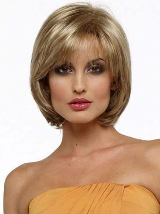 Short Women's Straight Blonde Synthetic Wig Basic Cap By Rooted
