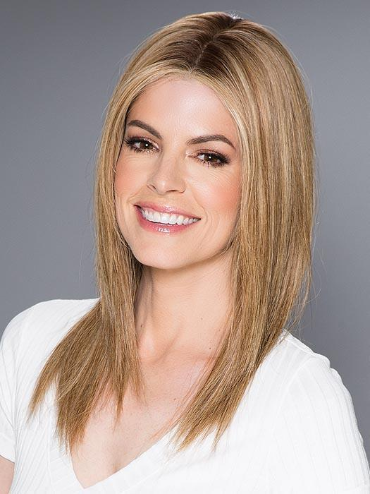 Women's Straight Human Hair Lace Front Wig Brunette By Rooted