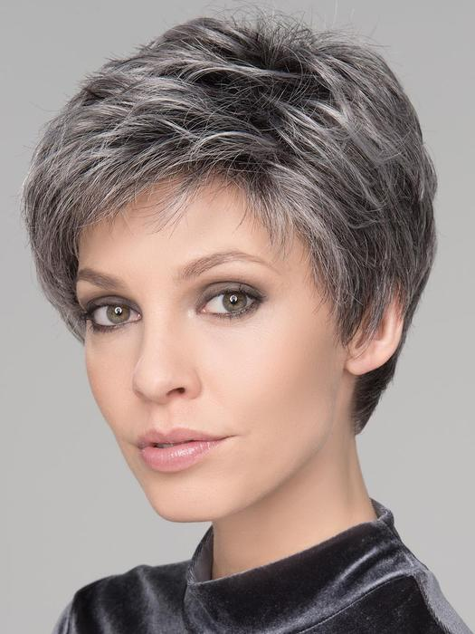 Short Women's Gray Straight Synthetic Lace Front Wig By Rooted