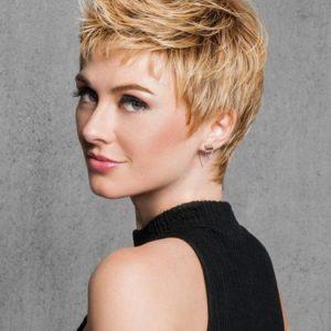 Short Straight Women's Pixie Synthetic Wig Basic Cap Brunette