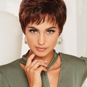 Blonde Women's Pixie Short Wavy Synthetic Wig Basic Cap By Rooted