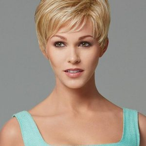 Short Women's Straight Synthetic Wig Basic Cap Brunette